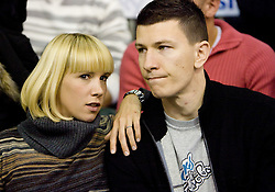 Vlado Ilievski with his wife Anja Vilfan Ilievski at Euroleague basketball match between KK Union Olimpija, Ljubljana and Maroussi B.C., Athens, on October 29, 2009, in Arena Tivoli, Ljubljana, Slovenia.  Olimpija lost 75:81. (Photo by Vid Ponikvar / Sportida)
