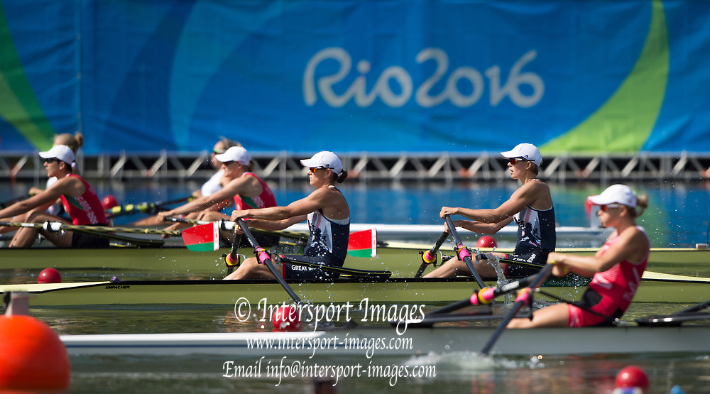 Rio de Janeiro. BRAZIL   GBR W2X. Bow. Vicky THORNILY and Katherine GRAINGER.  2016 Olympic Rowing Regatta. Lagoa Stadium,<br /> Copacabana,  &ldquo;Olympic Summer Games&rdquo;<br /> Rodrigo de Freitas Lagoon, Lagoa. Local Time 10:20:32  Tuesday  09/08/2016<br /> [Mandatory Credit; Peter SPURRIER/Intersport Images]