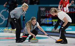 Great Britain's Lauren Gray (centre) during the Women's Round Robin Session 1 match against Olympic Athletes from Russia at the Gangneung Curling Centre on day five of the PyeongChang 2018 Winter Olympic Games in South Korea.