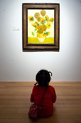 © Licensed to London News Pictures. 25/03/2019. A young girl views a painting titled Sunflowers (1888) by artist Vincent van Gogh. The painting is part of The EY Exhibition: Van Gogh and Britain at the Tate BritainLondon, UK. Photo credit: Ray Tang/LNP