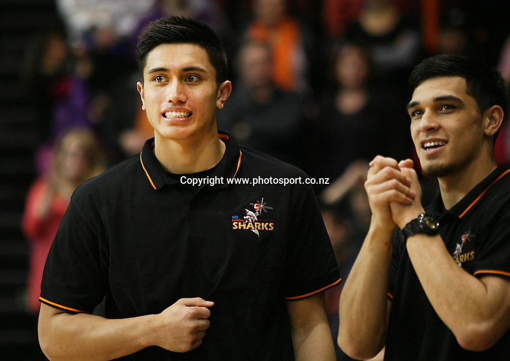 Sharks Reuben Te Rangi, left, and Shea Ili watch on from the sideline in the 2014 Bartercard National Basketball League, Sharks v Mountainairs, ILT Stadium Southland, Invercargill, New Zealand, Sunday, June 01, 2014. Photo: Dianne Manson / www.photosport.co.nz