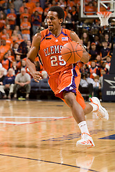 Clemson guard Cliff Hammonds (25) dribbles up court against Virginia.  The Virginia Cavaliers men's basketball team hosted the Clemson Tigers at the John Paul Jones Arena in Charlottesville, VA on February 7, 2008.