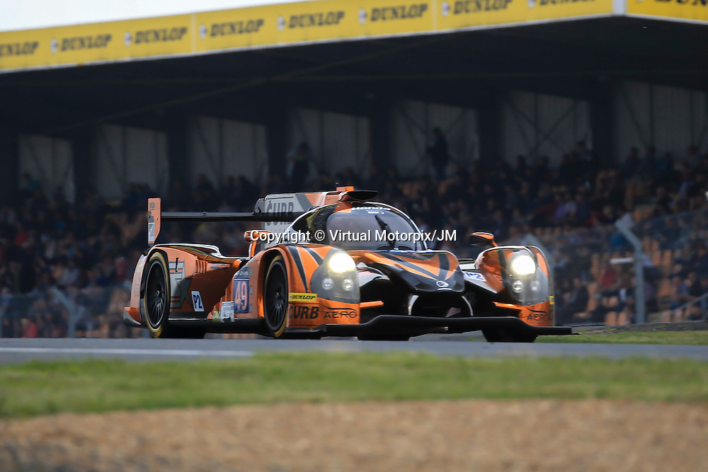 #49, Ligier JS P2 Honda, Michael Shank Racing, driven by John Pew, Ozz Negri Jr, Laurens Vanthoor, 24 Heures Du Mans Test Day, 05/06/2016,