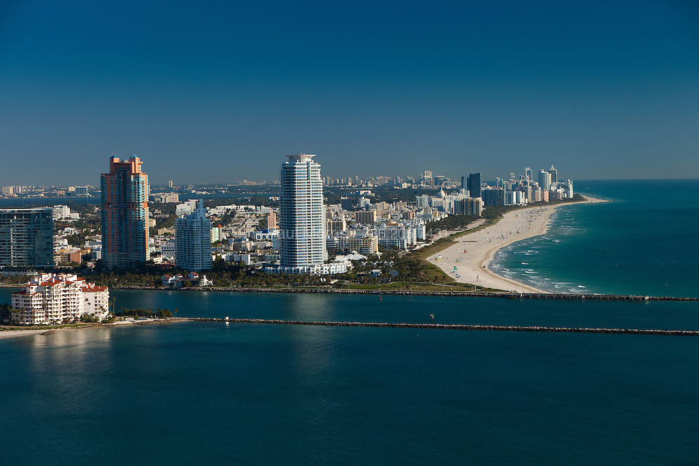 Aerial of Miami Beach South Point, Ocean Drive and the entrance to  Government Cut.