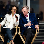 April 17, 2018 - New York, NY : The New York Times hosted Bill Nye for a conversation about climate change with New York Times science writer James Gorman and NYC Rising producer Geraldine Moriba at the Times building on Tuesday evening. Here, from left, Moriba and Nye during the event.  CREDIT: Karsten Moran for The New York Times