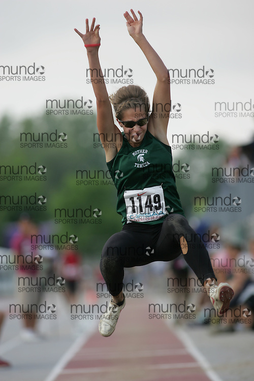 (London, Ontario}---03 June 2010) Charlotte Crombeen of Mother Teresa - London competing in the senior girls long jump at the 2010 OFSAA Ontario High School Track and Field Championships. Photograph copyright Sean Burges / Mundo Sport Images, 2010.