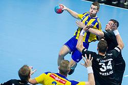 Miha Zarabec #23 of RK Celje Pivovarna Lasko during handball match between RK Celje Pivovarna Lasko vs RK Gorenje Velenje of Super Cup 2015, on August 29, 2015 in SRC Marina, Portoroz / Portorose, Slovenia. Photo by Urban Urbanc / Sportida