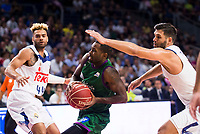 Real Madrid's player Jeffery Taylor and Felipe Reyes and Unicaja Malaga's player Oliver Lafayette during match of Liga Endesa at Barclaycard Center in Madrid. September 30, Spain. 2016. (ALTERPHOTOS/BorjaB.Hojas)