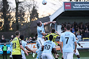 Braintree Town defender Joe Ellul (17) rises highest during the Vanarama National League match between FC Halifax Town and Dover Athletic at the Shay, Halifax, United Kingdom on 17 November 2018.