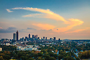 Atlanta skyline shot from the roof of a hotel in Atlantic Station.