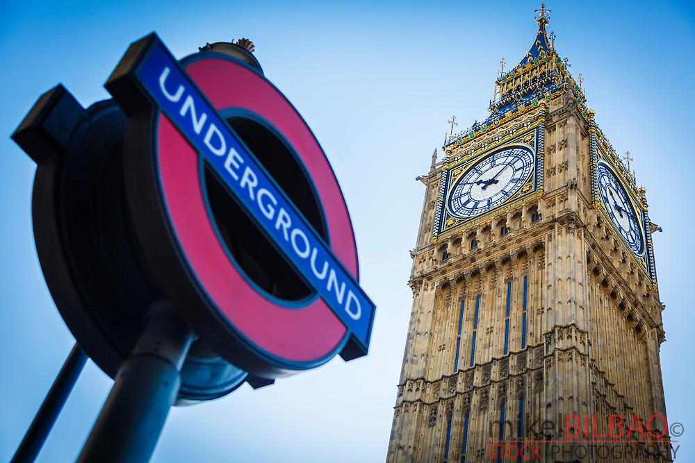 Big Ben and Underground symbol. London, England, United kingdom, Europe.