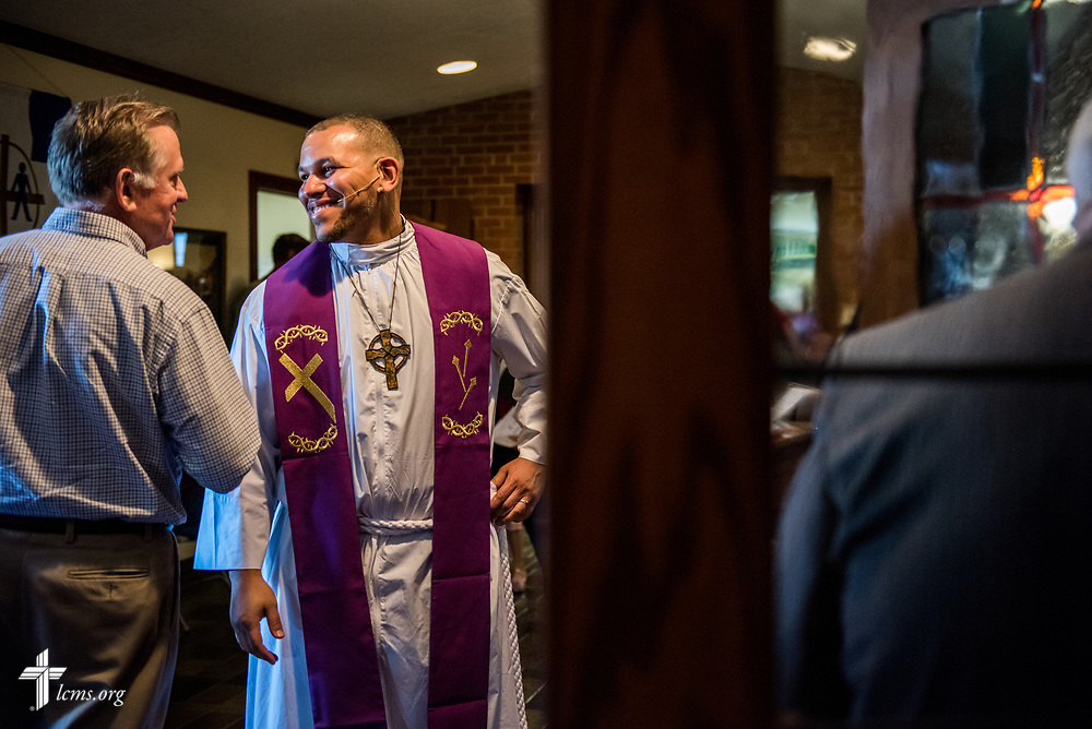 The Rev. Micah Glenn, national missionary to Ferguson, Mo., greets parishioners after guest preaching at Trinity Lutheran Church on Sunday, April 2, 2017, in Cape Girardeau, Mo. LCMS Communications/Erik M. Lunsford