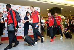 BANGKOK, THAILAND - Monday, July 13, 2015: Liverpool goalkeeper Simon Mignolet and Alberto Moreno at Bangkok's Suvarnabhumi Airport as the team arrive in Thailand for the start of the club's preseason tour. (Pic by David Rawcliffe/Propaganda)