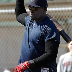 February 19, 2011; Fort Myers, FL, USA; Boston Red Sox first baseman David Ortiz during spring training at the Player Development Complex.  Mandatory Credit: Derick E. Hingle