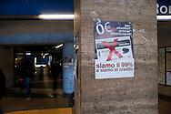 Roma 6 Dicembre 2011.Manifestazione  a Piramide degli studenti universitari , precari, lavoratori e migrant iper contestare il rialzo del prezzo del biglietto dei mezzi pubblici, a 1,50 euro. E contro l' aumento del 18% di aumento delle bollette dell'acqua