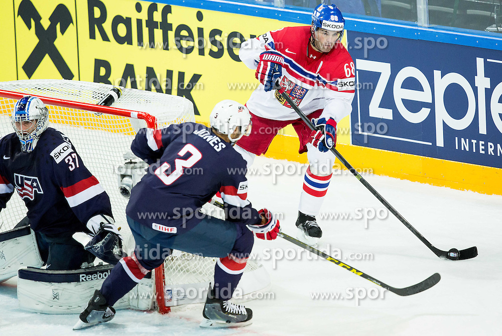 Connor Hellebuyck of USA, Seth Jones of USA and Jaromir Jagr of Czech Republic during Ice Hockey match between USA and Czech Republic at Third place game of 2015 IIHF World Championship, on May 17, 2015 in O2 Arena, Prague, Czech Republic. Photo by Vid Ponikvar / Sportida