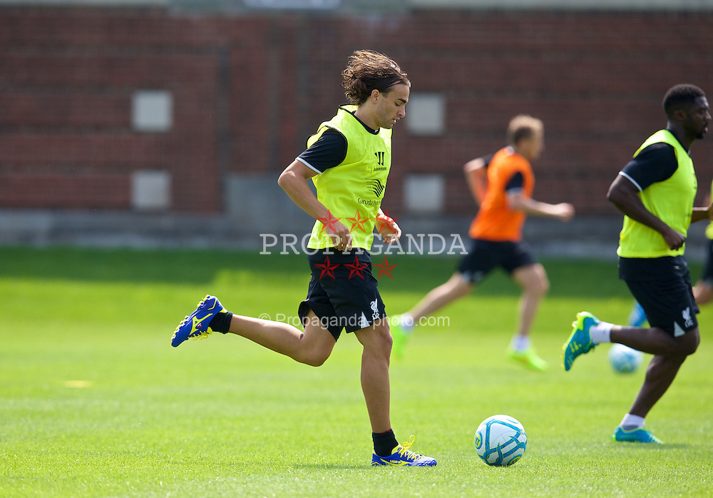 HARVARD, USA - Monday, July 21, 2014: Liverpool's Lazar Markovic during a preseason training session at the Harvard Stadium in Boston on day one of their USA Tour. (Pic by David Rawcliffe/Propaganda)