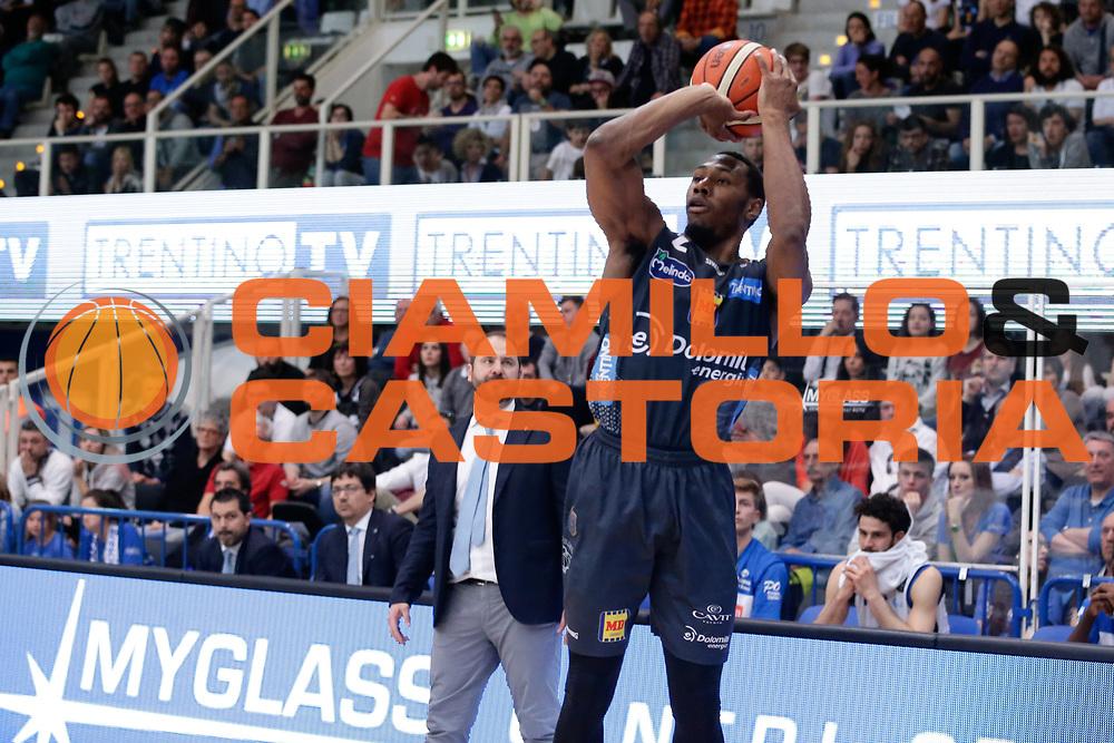 Dominique Sutton<br /> Dolomiti Energia Aquila Basket Trento - Germani Basket Brescia Leonessa<br /> Lega Basket Serie A 2016/2017<br /> PalaTrento, 23/04/2017<br /> Foto Ciamillo-Castoria / M. Brondi