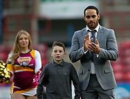 Leroy Cudjoe of Huddersfield Giants enters the field during his testimonial fixtures against Dewsbury Rams during the Pre-season Friendly match at the John Smiths Stadium, Huddersfield<br /> Picture by Stephen Gaunt/Focus Images Ltd +447904 833202<br /> 14/01/2018