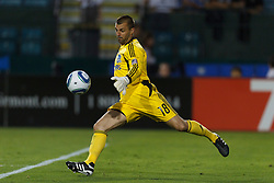 July 20, 2011; Santa Clara, CA, USA;  San Jose Earthquakes goalkeeper Jon Busch (18) punts the ball against the Vancouver Whitecaps during the second half at Buck Shaw Stadium. San Jose tied Vancouver 2-2.