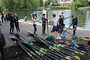 Maidenhead. Berkshire. United Kingdom. General view. Competitors collecting their oars from outside, Maidenhead RC Boathouse. 2017 Maidenhead Junior Regatta  River Thames. <br />