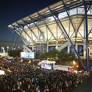 Massive crowds queueing outside Arthur Ashe Stadium to watch Serena Williams, USA, in action against her sister Venus Williams, USA, in the  Women's Singles Quarterfinals match during the US Open Tennis Tournament, Flushing, New York, USA. 8th September 2015. Photo Tim Clayton