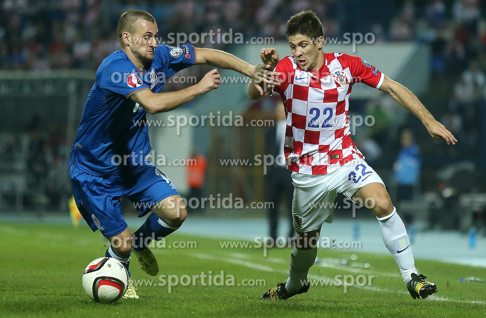 13.10.2014, Stadion Gradski vrt, Osijek, CRO, UEFA Euro Qualifikation, Kroatien vs Aserbaidschan, Gruppe H, im Bild Maksim Medved, Andrej Kramaric // during the UEFA EURO 2016 Qualifier group H match between Croatia and Azerbaijan at the Stadion Gradski vrt in Osijek, Croatia on 2014/10/13. EXPA Pictures &copy; 2014, PhotoCredit: EXPA/ Pixsell/ Igor Kralj<br /> <br /> *****ATTENTION - for AUT, SLO, SUI, SWE, ITA, FRA only*****