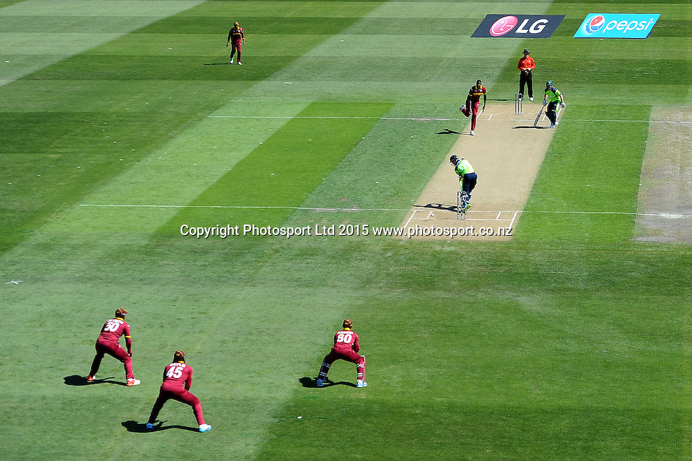 General view of play during the 2015 ICC Cricket World Cup match between West Indies and Ireland. Saxton Oval, Nelson, New Zealand. Monday 16 February 2015. Copyright Photo: Chris Symes / www.photosport.co.nz