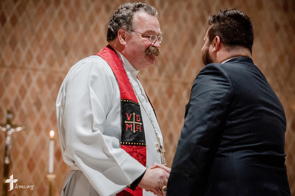 Pastors-elect receive their call at The Order of Vespers with Distribution of Calls into the Holy Ministry on Wednesday, April 25, 2018, in Kramer Chapel at Concordia Theological Seminary, Fort Wayne, Ind. LCMS Communications/Erik M. Lunsford