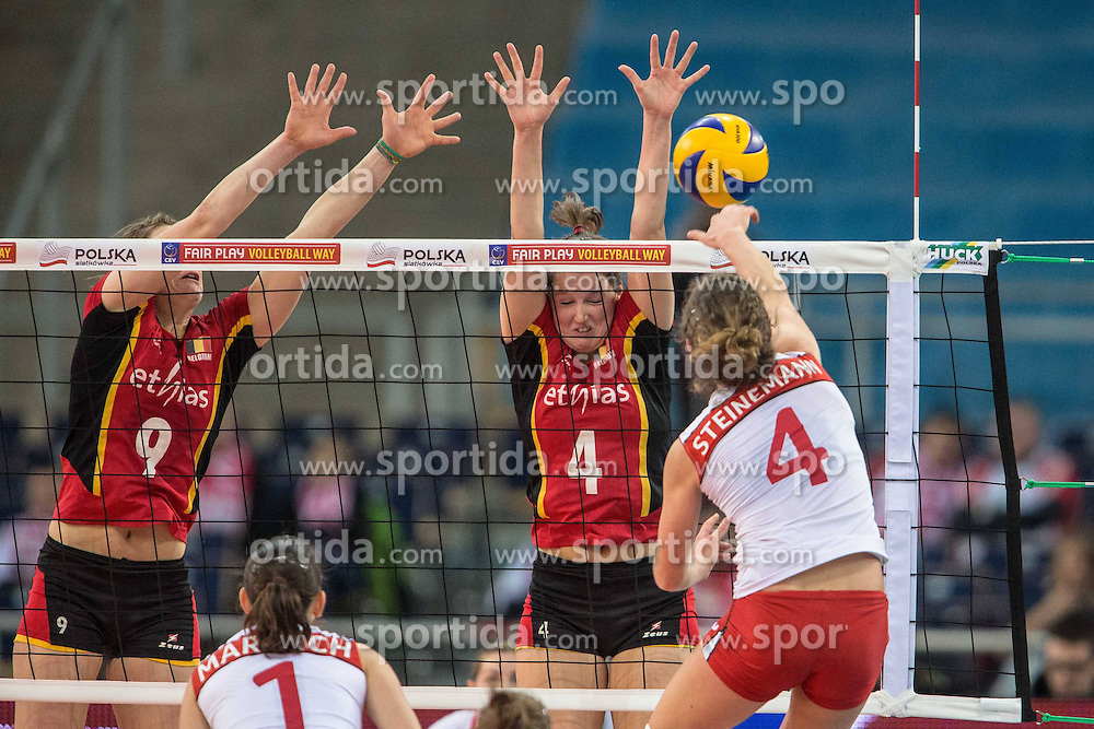 04.01.2014, Atlas Arena, Lotz, POL, FIVB, Damen WM Qualifikation, Belgien vs Schweiz, im Bild FREYA AELBRECHT, NINA COOLMAN, ELENA STEINEMANN // FREYA AELBRECHT , NINA COOLMAN , ELENA STEINEMANN during the ladies FIVB World Championship qualifying match between Belgium and Switzerland at the Atlas Arena in Lotz, Poland on 2014/01/05. EXPA Pictures &copy; 2014, PhotoCredit: EXPA/ Newspix/ Radoslaw Jozwiak<br /> <br /> *****ATTENTION - for AUT, SLO, CRO, SRB, BIH, MAZ, TUR, SUI, SWE only*****