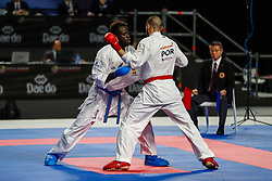 November 10, 2018 - Madrid, Madrid, Spain - Reis Filipe (POR) figth with Seck Sakho Babacar (ESP) for third place of male Kumite 84+ Kg during the Finals of Karate World Championship celebrates in Wizink Center, Madrid, Spain, on November 10th, 2018. (Credit Image: © AFP7 via ZUMA Wire)