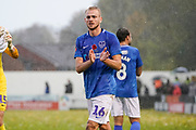 Jack Whatmough of Portsmouth applauds the fans after their 4-0 win over Maidenhead United during the The FA Cup 1st round match between Maidenhead United and Portsmouth at York Road, Maidenhead, United Kingdom on 10 November 2018.