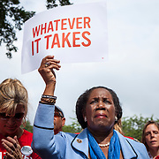 "Rep. Sheila Jackson Lee, D-TX, attended a rally organized to support victims of gun violence and pressure politicians to do ""whatever it takes"" to prevent gun violence.   Andy Parker, made his first visit to Washington, D.C. since his daughter, WDBJ_TV reporter, Alison Parker, was shot and killed on live television near Roanoke, VA last week.  The rally, organized by Everytown for Gun Safety, brought Parker together with Virginia Senators, Mark Warner, Tim Kaine and Virginia Governor, Terry McAuliffe near the United States Capitol, on Thursday, September 10, 2015.  John Boal/for The New York Daily News"