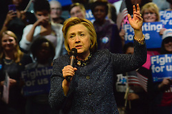 Democratic presidential candidate HILLARY CLINTON at a April 20, 2016 rally in Philadelphia Pennsylvania. Clinton visits Philadelphia ahead of the April 26, Pennsylvania Primary and one day after winning the New York Primary.