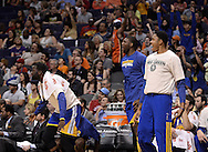 Apr 5, 2013; Phoenix, AZ, USA; Golden State Warriors bench reacts to a play during the second half against the Phoenix Suns at the US Airways Center. The Warriors defeated the Suns 111-107. Mandatory Credit: Jennifer Stewart-USA TODAY Sports