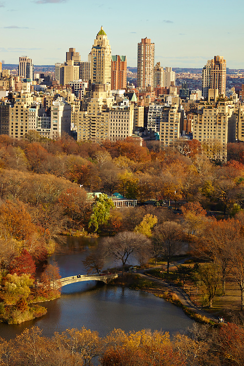 View of the Central Park Lake, Bow Bridge and the Upper East Side from 12 West 72nd Street, 28th floor