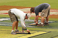 Groundsmen paint the sponsors logos during the Central Stags training session held at St Georges Park in Port Elizabeth on the 20 September 2010..Photo by: Shaun Roy/SPORTZPICS/CLT20