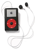 an apple ipod u2 special edition with earbuds photographed on white.