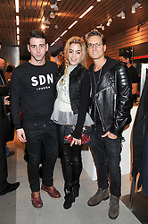 Left to right, JAY CAMILLERI and CHELSEA LEYLAND and OLIVER PROUDLOCK at an invitation-only acoustic performance by Rita Ora hosted by Calvin Klein Jeans at their Regent Street Store, London on 18th February 2013.