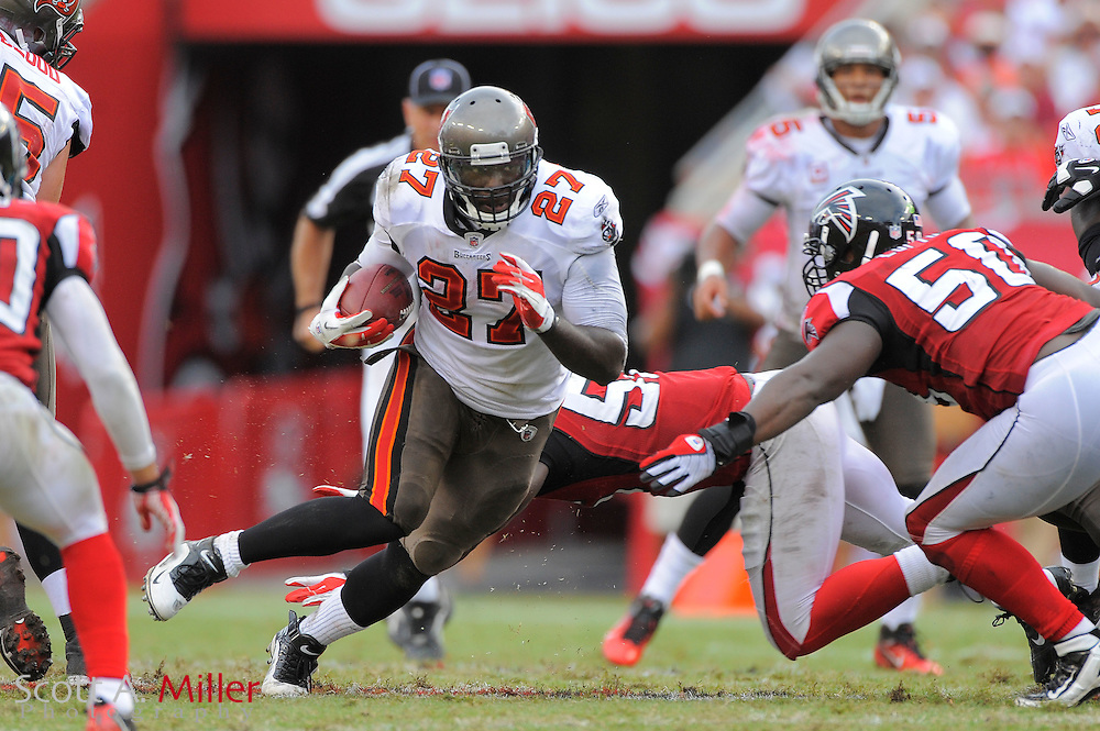 Tampa Bay Buccaneers running back LeGarrette Blount (27) during the Bucs game against the Atlanta Falcons at Raymond James Stadium on Sept. 25, 2011 in Tampa, FL...©2011 Scott A. Miller