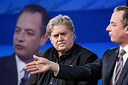 Steve Bannon and Reince Priebus talk at the CPAC, Conservative Political Action Conference back when they were White House Chief Strategist and White House Chief of Staff respectively.