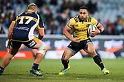 Ngani Laumape on attack during the Super Rugby match, Brumbies V Hurricanes, GIO Stadium, Canberra, Australia, 30th June 2018.Copyright photo: David Neilson / www.photosport.nz