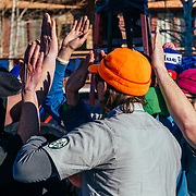 Team TVS wins a round and high fives the losers during the 2015 Gelande Quaff.