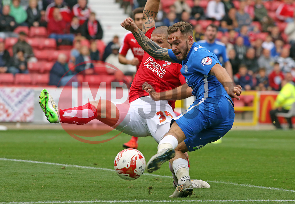 Jon Taylor of Peterborough United scores the opening goal of the game - Mandatory byline: Joe Dent/JMP - 07966 386802 - 10/10/2015 - FOOTBALL - County Ground - Swindon, England - Swindon Town v Peterborough United - Sky Bet League One