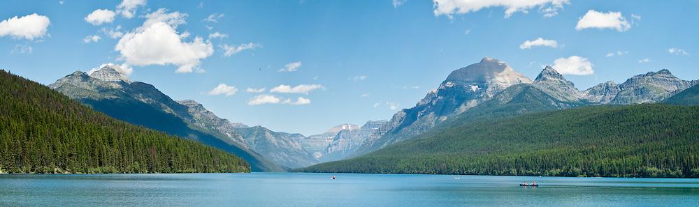 Bowman Lake, Rainbow Peak (right, 9891 feet elevation), Numa Ridge (left), Glacier National Park, Montana, USA. (Panorama stitched from 4 overlapping images.)