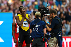 London, 2017-August-05. Usain Bolt of Jamaica makes a face for the camera ahead of his men's 100m semi-final at the IAAF World Championships London 2017. Paul Davey.