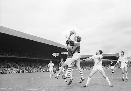 GAA All Ireland Minor Football Final Sligo v. Cork 22nd September 1968 Croke Park..M. Doherty Cork full forward goes up for the ball watched by Sligo full back ..22.9.1968  22nd September 1968