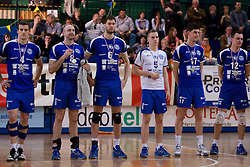 Second placed team: Jernej Potocnik, Damir Sabec, Adam Kaminski, Jani Kovacic, Dane Mijatovic and Darijo Savicic of Salonit at medal ceremony after the final match of Slovenian National Volleyball Championships between ACH Volley Bled and Salonit Anhovo, on April 24, 2010, in Radovljica, Slovenia. ACH Volley defeated Salonit 3rd time in 3 Rounds and became Slovenian National Champion.  (Photo by Vid Ponikvar / Sportida)