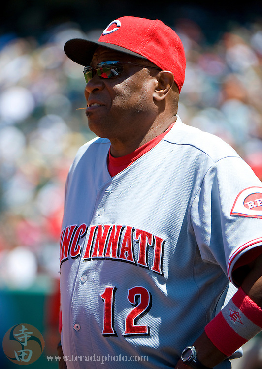 June 23, 2010; Oakland, CA, USA; Cincinnati Reds manager Dusty Baker (12) watches from the dugout during the sixth inning against the Oakland Athletics at Oakland-Alameda County Coliseum. The Reds defeated the Athletics 3-0. Mandatory Credit: Kyle Terada-Terada Photo