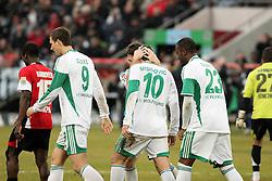 28.02.2010, AWD Arena, Hannover, GER, Hannover 96 vs VfL Wolfsburg, Spieltag 24, im Bild  Jubel nach dem 1:0 durch Zvjezdan Misimovic (#10 BOS/GER VfL Wolfsburg) mit Grafite (#23 VfL Wolfsburg), Edin Dzeko (#9 BOS VfL Wolfsburg) und Alexander Madlung (#17 VfL Wolfsburg). EXPA Pictures © 2010, PhotoCredit: EXPA/ nph/  Arend / for Slovenia SPORTIDA PHOTO AGENCY.